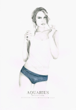 Graphite and color pencil star sign illustration - Aquarius