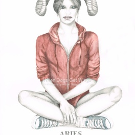 Graphite and color pencil star sign illustration -Aries