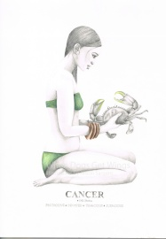 Graphite and color pencil star sign illustration - Cancer