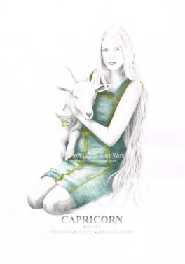 Graphite and color pencil star sign illustration - Capricorn
