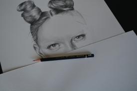Graphite pencil fashion illustration Capricorn Star sign - work in progress
