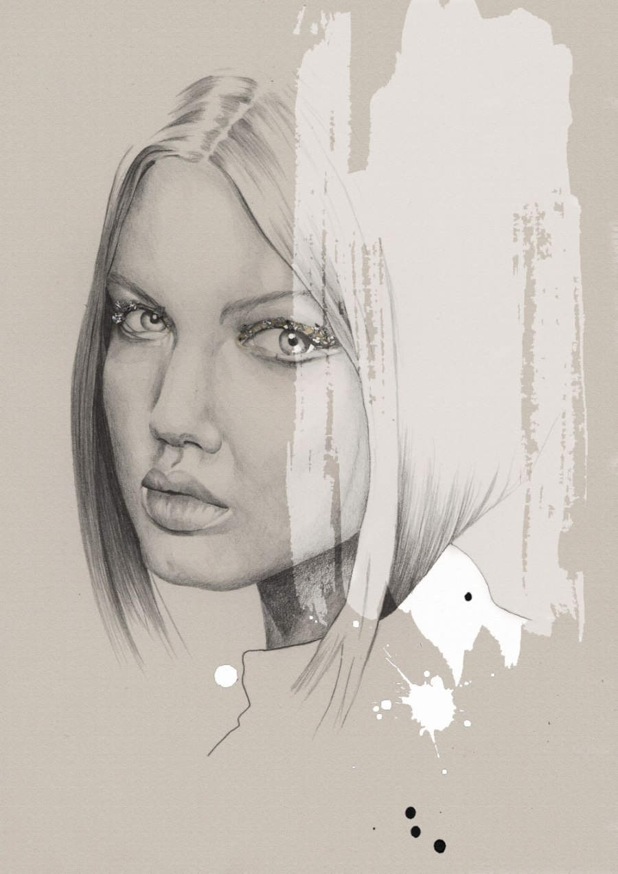 fashion illustration of Lindsey Wixson in Chanel