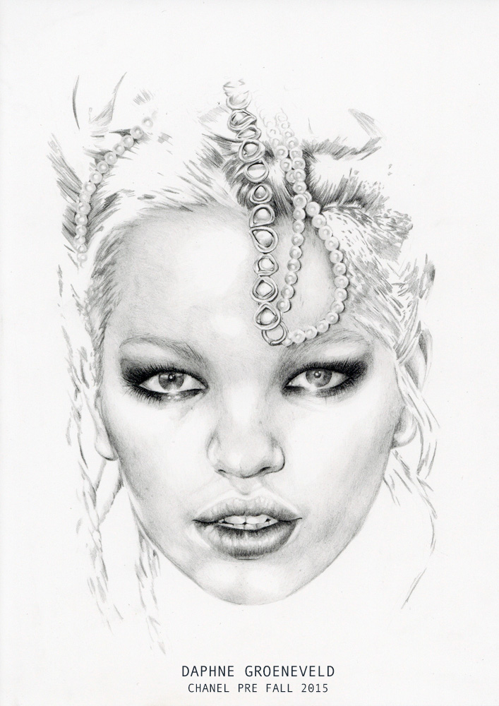 """Daphne Groenveld for Chanel Pre Fall 2015"" - Graphite pencil fashion illustration by Alison Sargent"