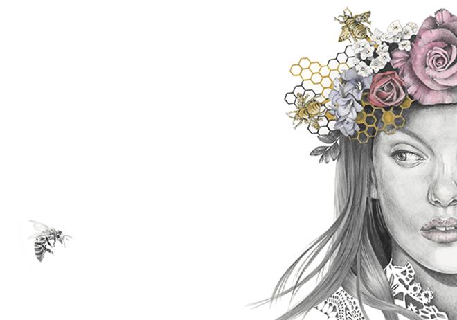 'Ophelia' - Graphite and watercolour fashion illustration