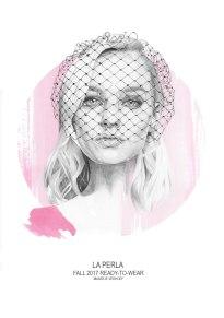 Fashion illustration of Maartje Verhoef for La Perl Fall 2017