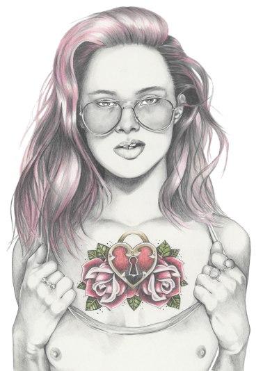 Fashion illustration of tattooed girl