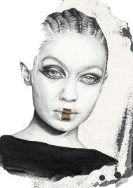 Fashion illustration of Gigi Hadid for Balmain Fall 2017