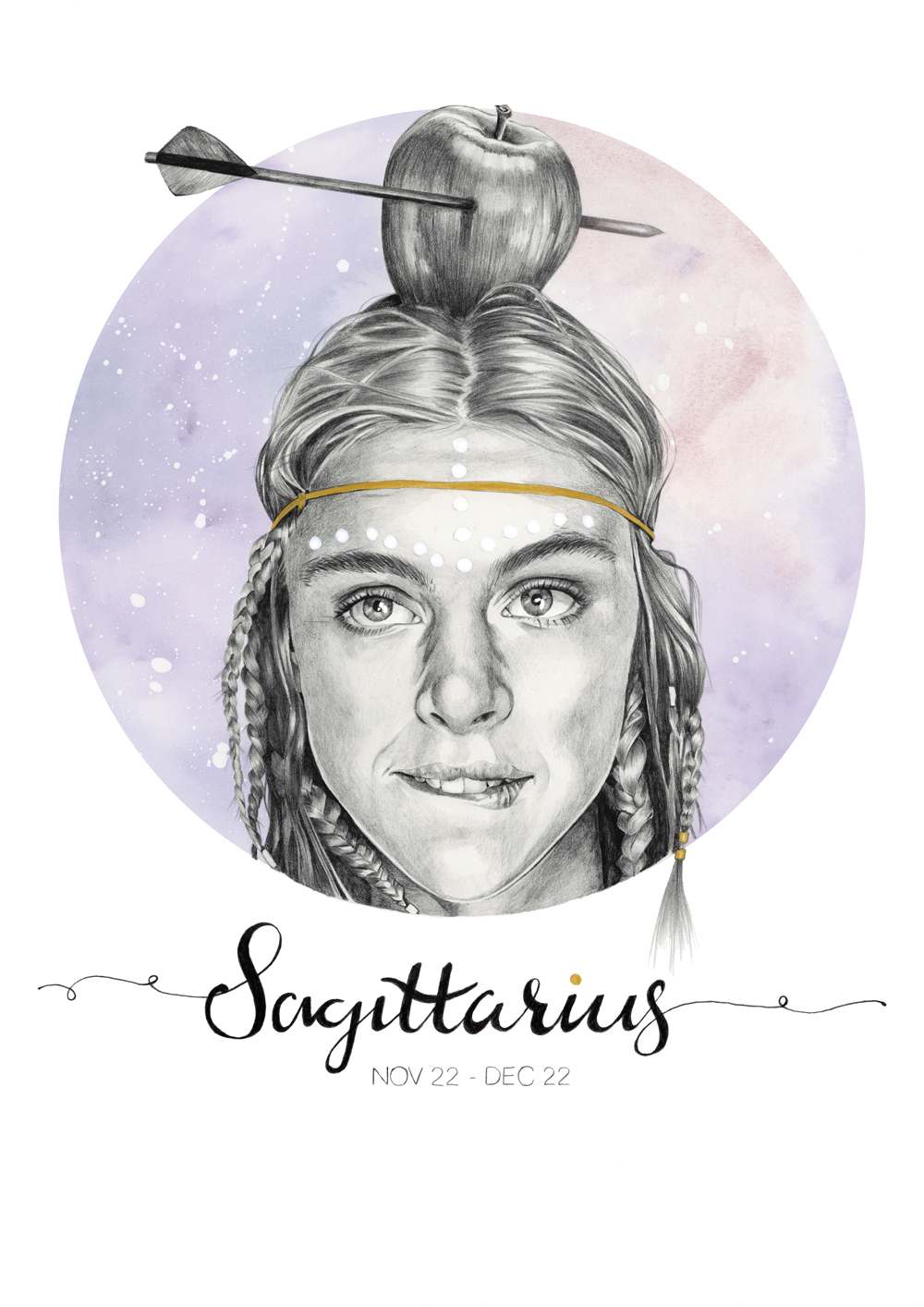 """Sagittarius"" - graphite pencil and watercolour Star Sign illustration by Alison Sargent"