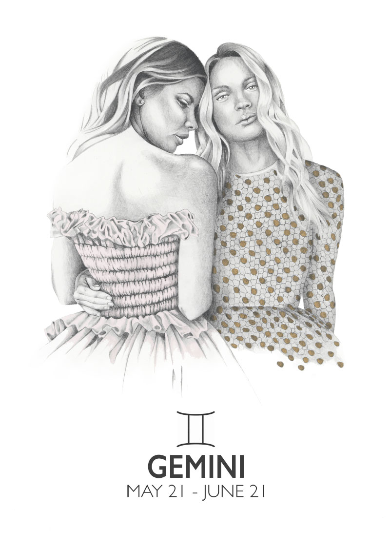Graphite and gouache star sign illustration - Gemini