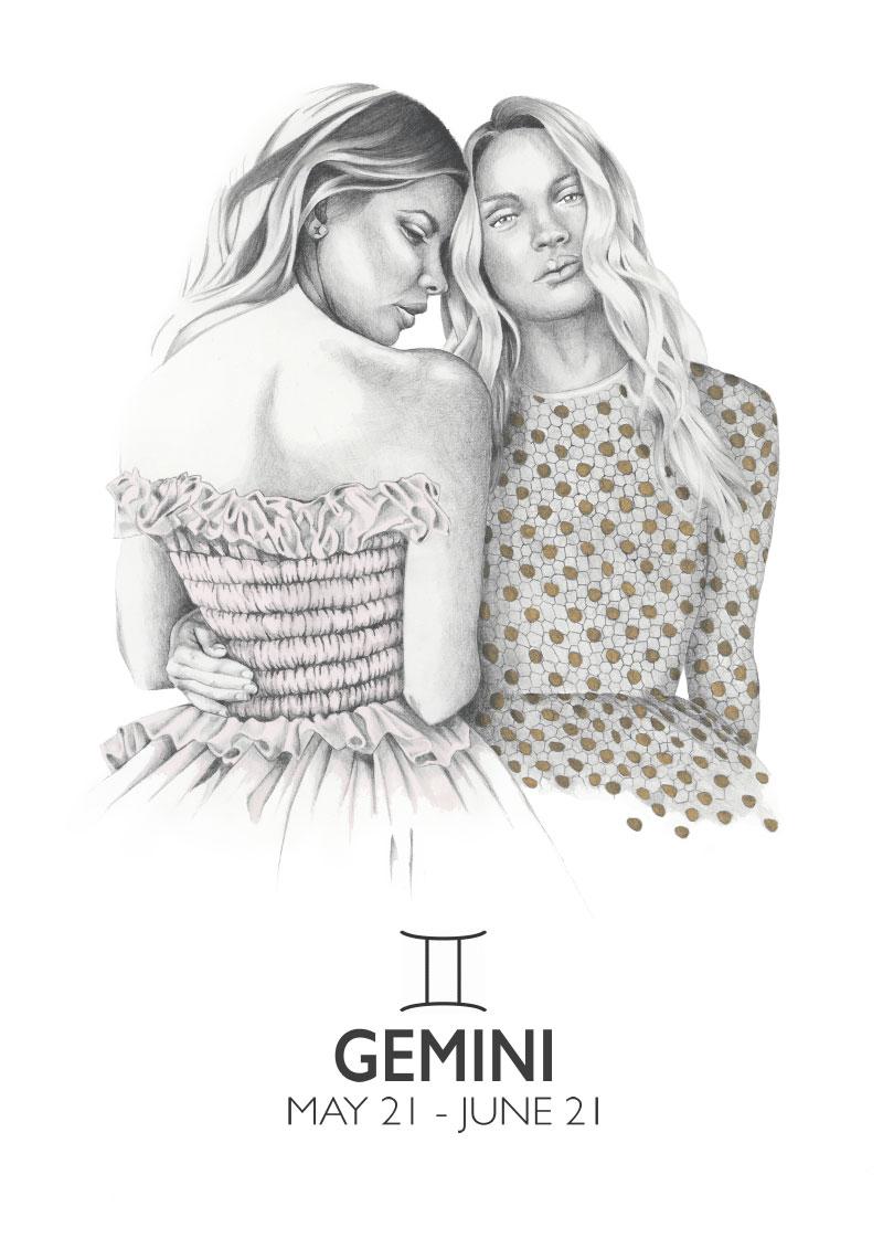 Graphite and gouache star sign illustration - Gemini