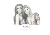 Graphite and color pencil star sign illustration - Gemini