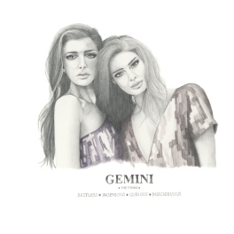 Graphite and color pencil star sign illustration - Gemini