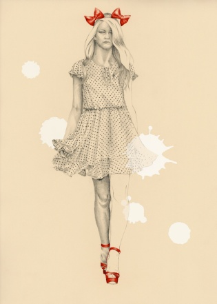 Graphite pencil, watercolour and digital color fashion illustration of Ida Sjostedt runway collection