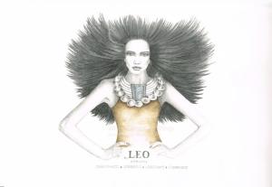 Graphite and color pencil star sign illustration - Leo
