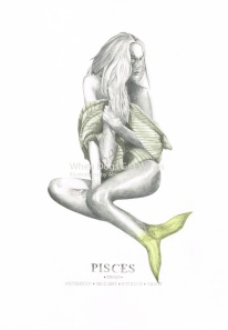 Graphite and color pencil star sign illustration - Pisces