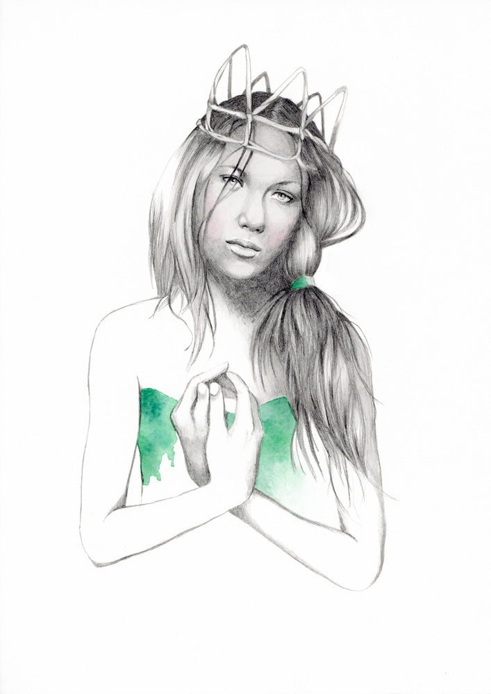 Fashion illustration of girl in crown