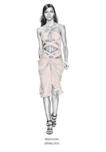 """Reem Acra - Spring 2015"" - Runway illustration by Alison Sargent"