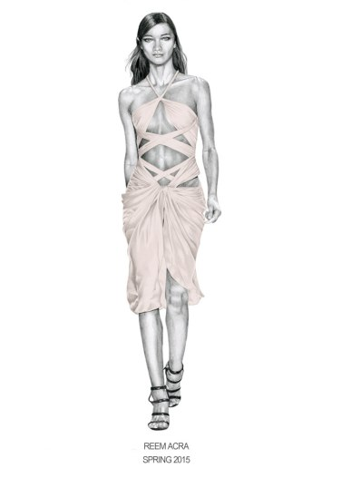 Runway illustration from Reem Acra Spring 2015 collection