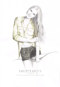 Graphite and color pencil star sign illustration - Sagittarius