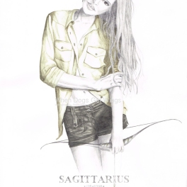 Graphite and color pencil star sign illustration - Sagittarius