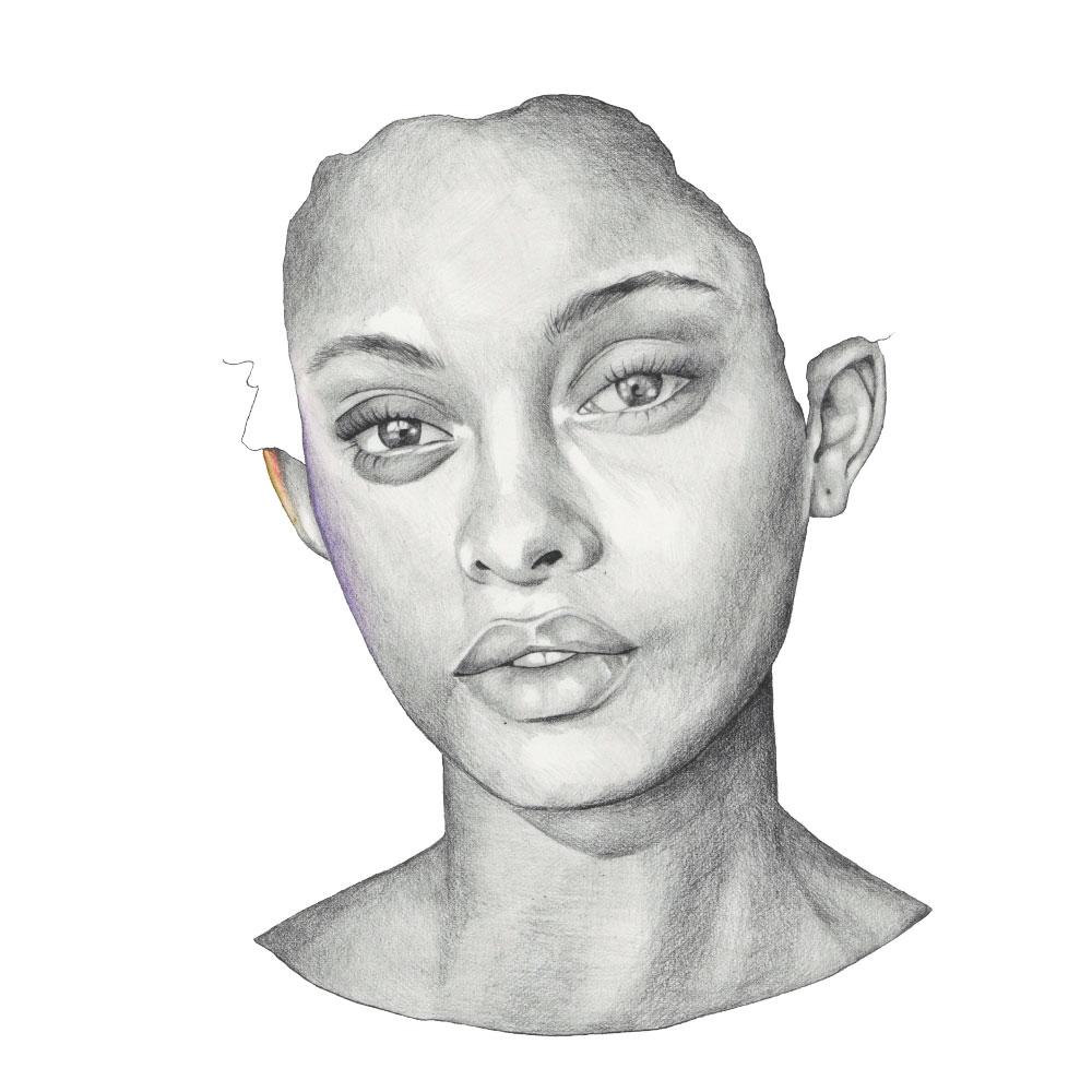 Graphite and color pencil illustration of model Samile Bermannelli