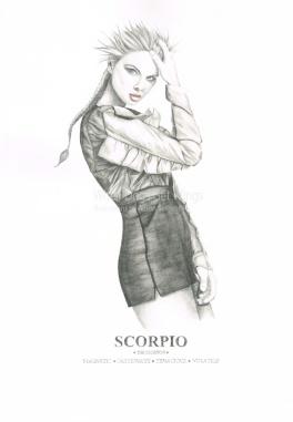 Graphite and color pencil star sign illustration - Scorpio