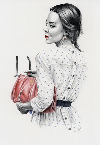 """Ulyana Sergeenko"" - graphite and colour pencil fashion illustration by Alison Sargent"