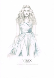Graphite and color pencil star sign illustration - Virgo