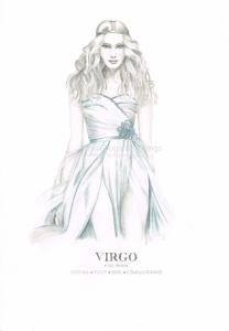 Graphite and color pencil star sign illustration - Virgo