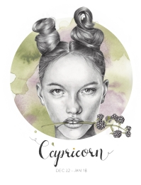 Capricorn - graphite and watercolor illustration