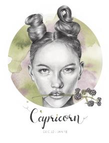 Capricorn - graphite and watercolor illustration
