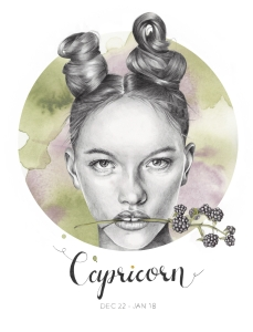 """Capricorn"" - graphite and watercolor illustration by Alison Sargent"
