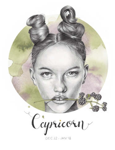 """""""Capricorn"""" - graphite and watercolor illustration by Alison Sargent"""