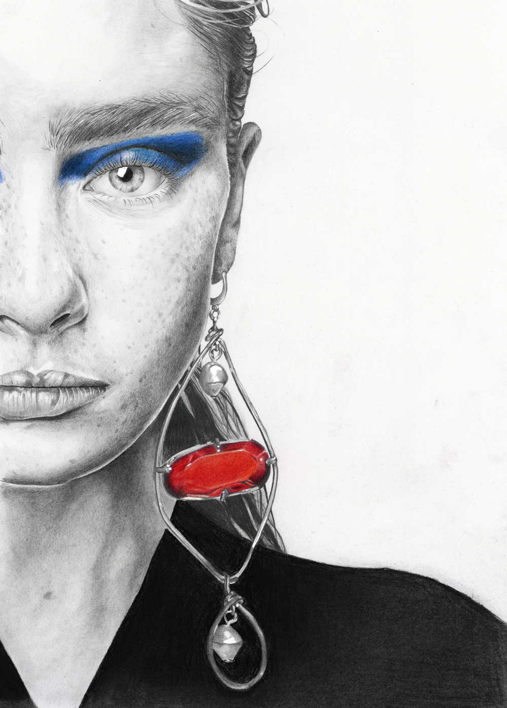 """Alisha Nesvat - Marni Spring 2018"" - Graphite and Colour Pencil Fashion illustration by Alison Sargent"