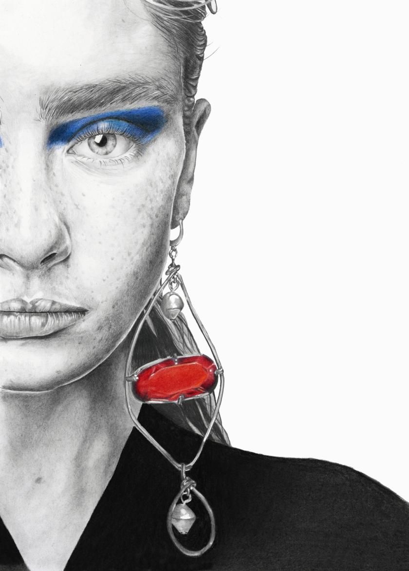 Alisha Nesvat for Mani - graphite and pencil illustration