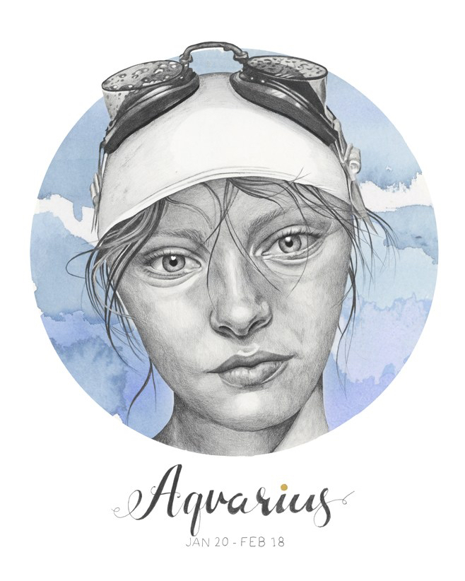 """""""Aquarius"""" - graphite pencil and watercolour Star Sign illustration by Alison Sargent"""