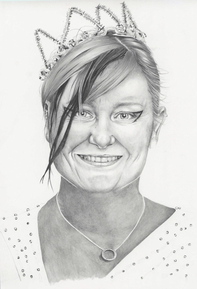 Graphite pencil illustration of Kirsten