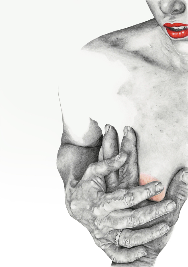 """Touch"" - graphite pencil illustration by Alison Sargent"