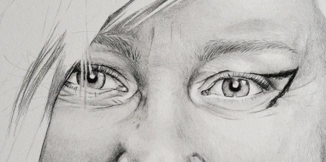 Graphite pencil illustration of Kirsten