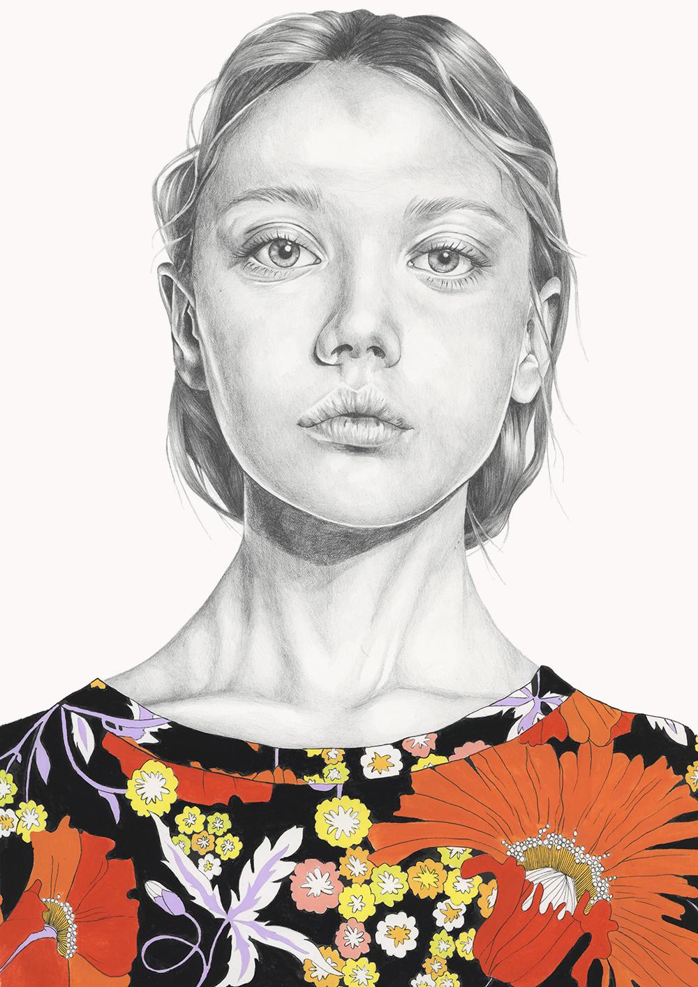 Stella - gouache and graphite pencil illustration