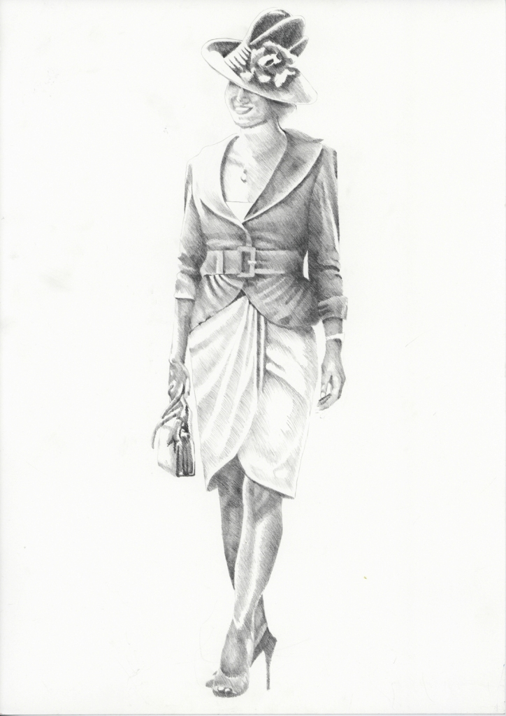 Graphite pencil illustration - Fashions on the Field 2007 - Lorraine Cookson