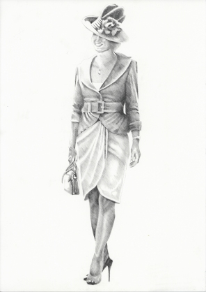 Graphite pencil illustration - Fashions on the Field 2007 - Lorraine Cookson