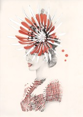 Graphite, watercolour and digital colour fashion illustration of Chloe Moo winner of the 2013 Myer Fashions on the Field