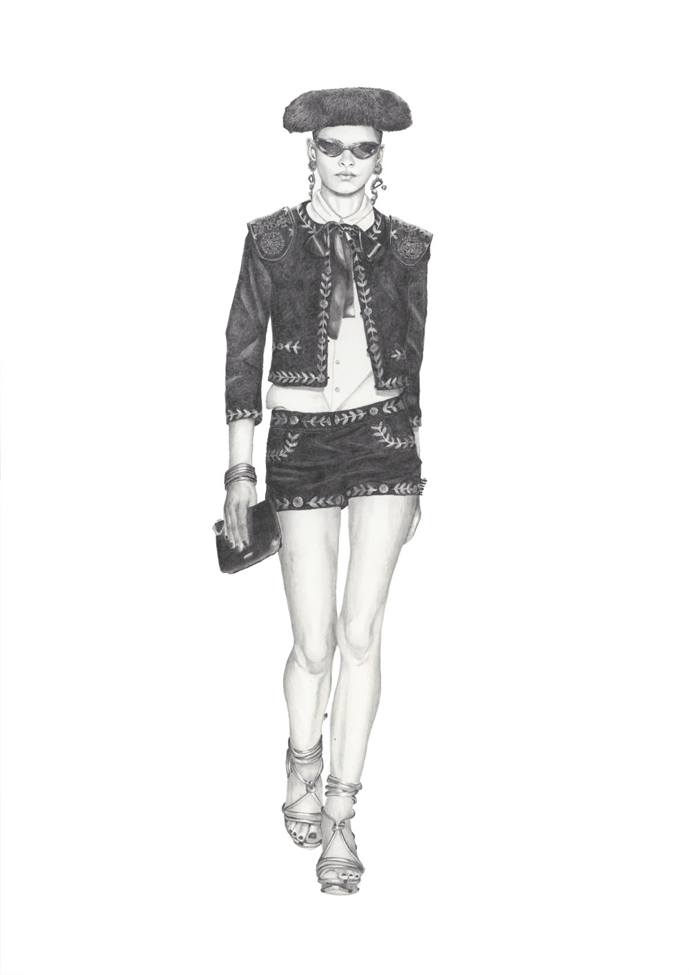 Moschino Spring 2012 - Graphite pencil runway illustration by Alison Sargent