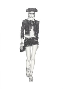 """Moschino Spring 2012"" - Graphite pencil runway illustration by Alison Sargent"
