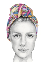 Graphite and colour pencil fashion illustration