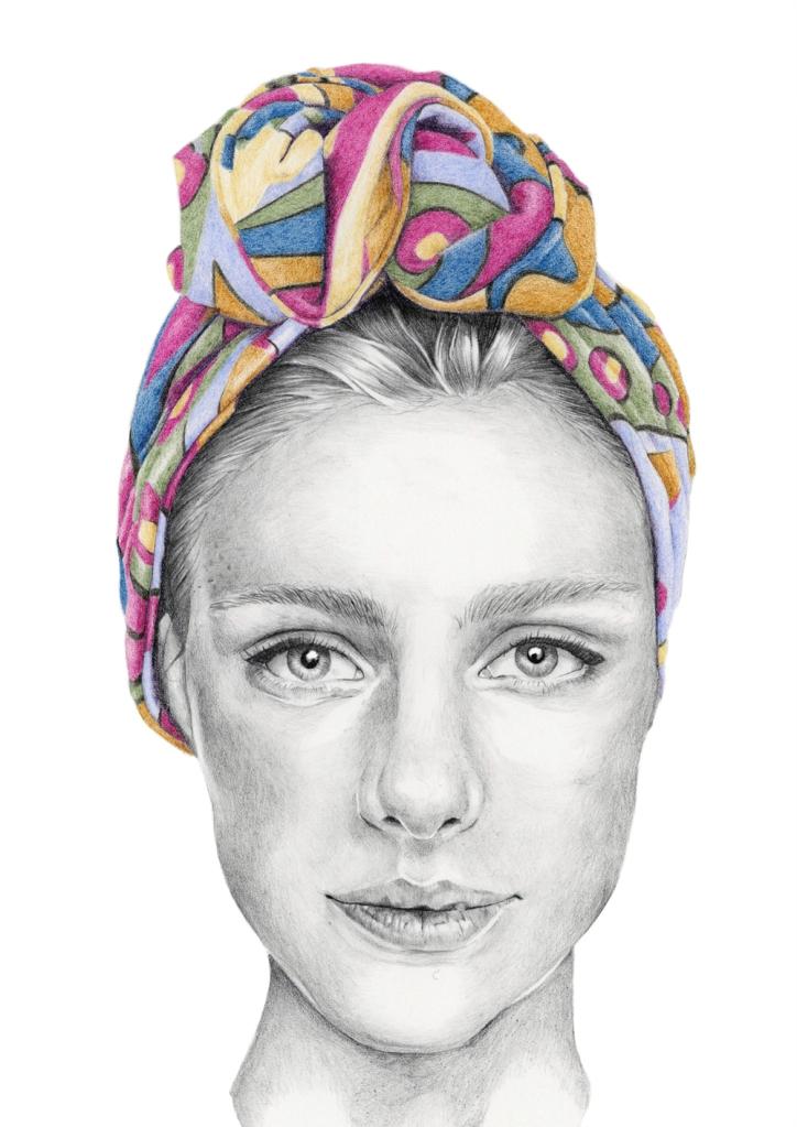 Graphite and colour pencil fashion illustration