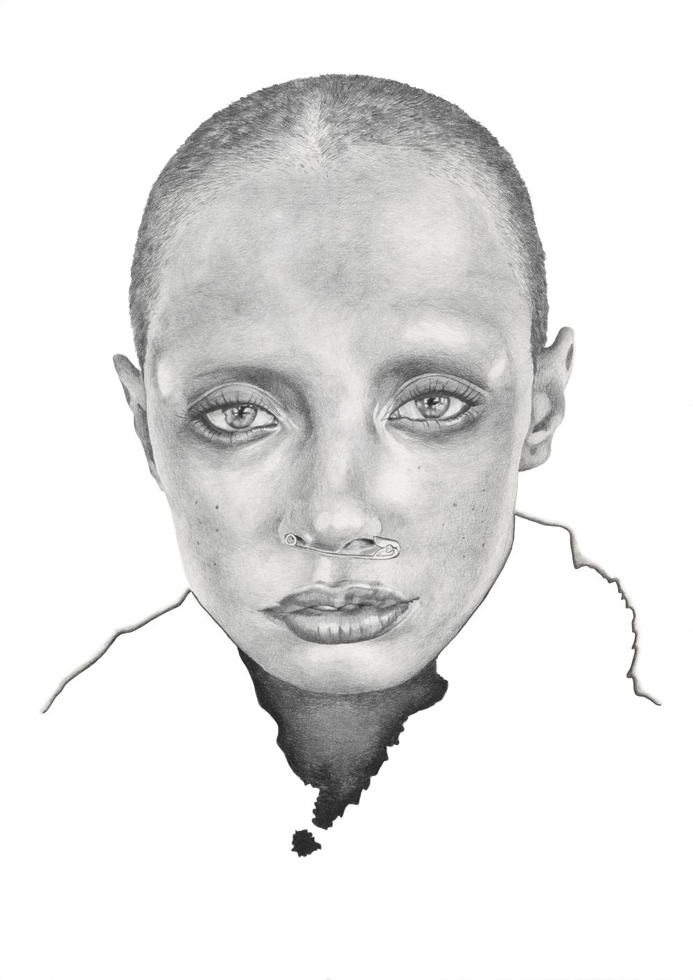 Graphite pencil portrait illustration by Alison Sargent