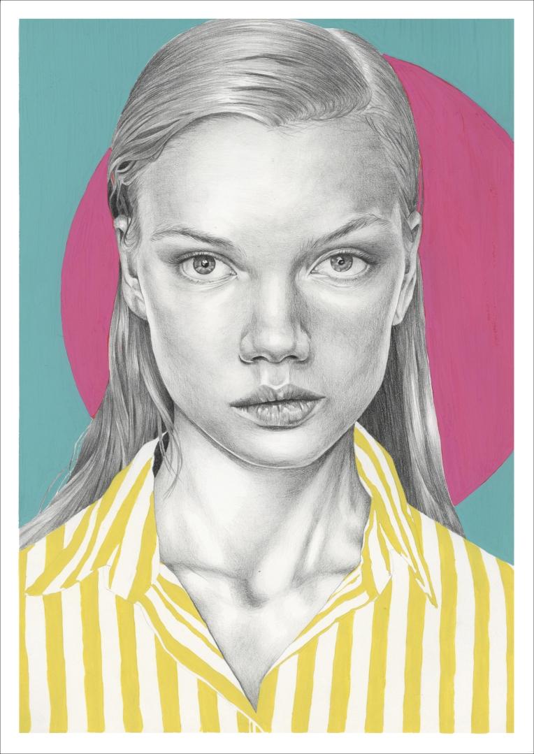 """""""Grace"""" graphite pencil and gouache paint illustration"""