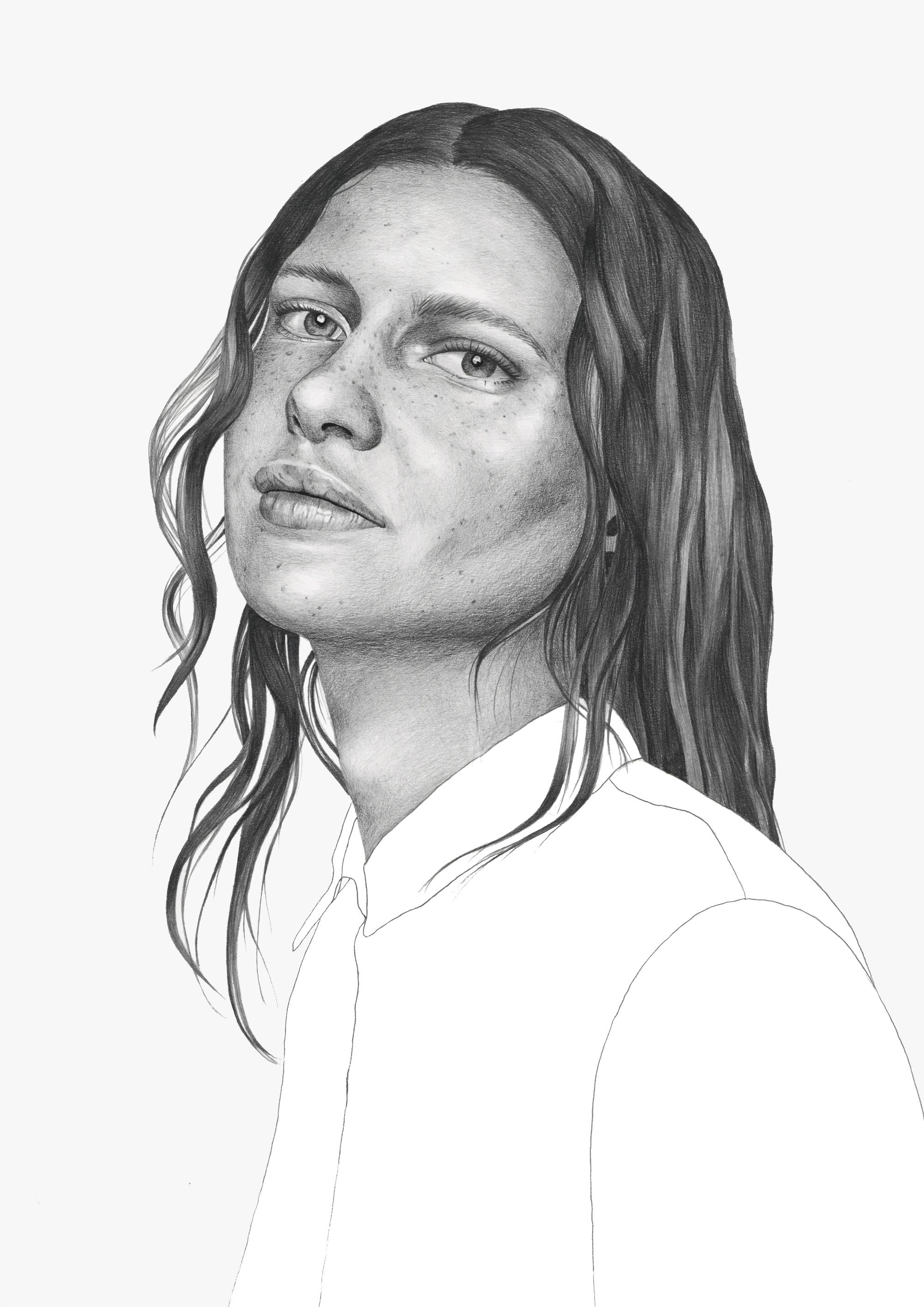 Graphite pencil fashion illustration by Alison Sargent
